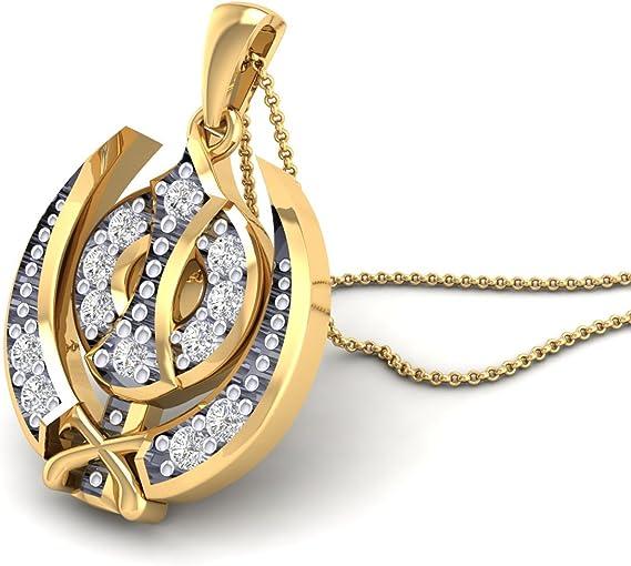 14 k yellow gold divine sikh symbol ik onkar religious pave diamond designer pendant unisex fine jewelry khanda