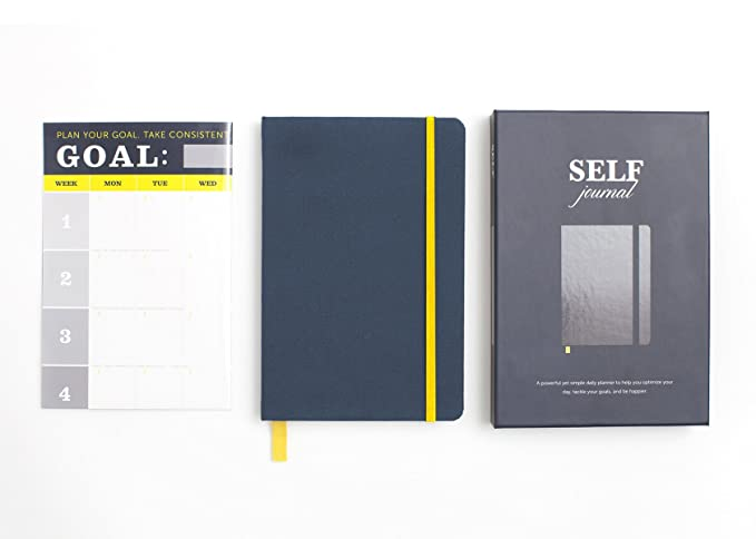 BestSelf Co. FBA_BSJRNL1 The SELF Journal - The Original Agenda Daily Planner and Appointment Notebook to Achieve Goals & Increase Productivity and Happiness. Undated Hardcover 8. 25 x 5. 5 Navy