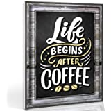 Coffee Signs Kitchen Decor - Life Begins After Coffee Wall Decor Sign - 11.75 inch x 9 inch - Rigid Thick PVC - For Home, Cof