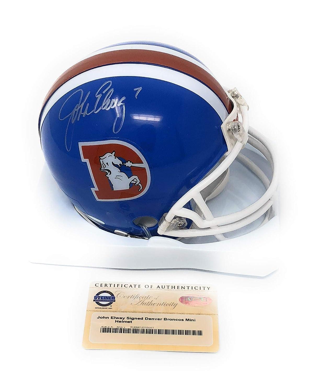 John Elway Denver Broncos Signed Autograph Throwback Mini Helmet Steiner Sports Certified