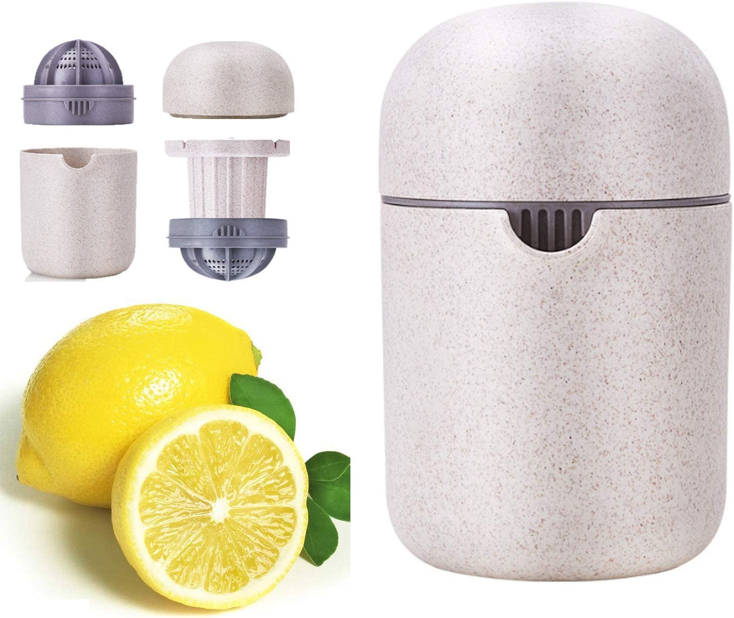Manual Juicer with Storage Cup for Citrus Fruit, Oranges, Lemons, Travel and Kitchen Drinking Dinning DIY Juice Tool, Rotary Pressure Squeezer with Container and Filter Strainer, Light Portable pp Str (beige)