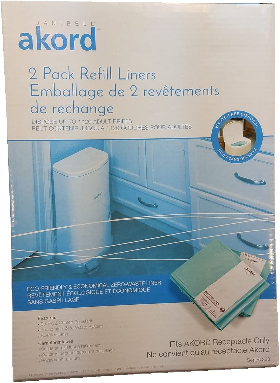 4 Pack of Bags for Adult Incontinence Disposal System Akord Scented Refill Liners for Akord Slim 7 Gallon Receptacle