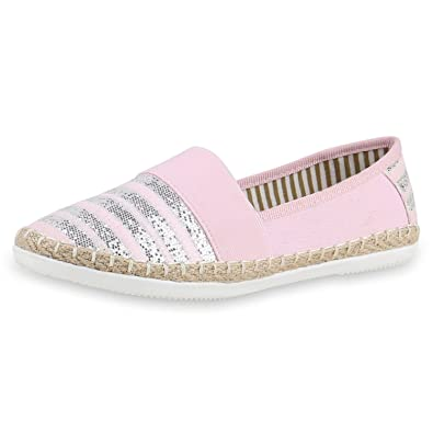 napoli-fashion Slip-Ons Damen Glitzer Slipper Metallic Sneakers Freizeit Flats Damen Sneakers Creme 39 Jennika