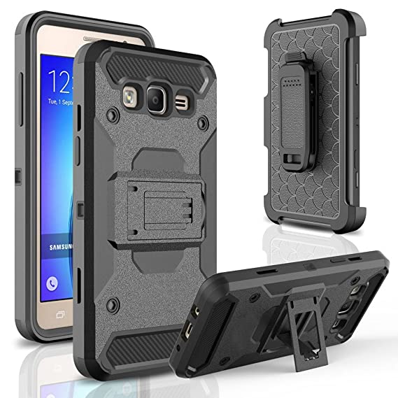 reputable site b2468 b5002 Galaxy ON 5 Case,Telegaming Heavy Duty Hybrid Impact Resistant Shockproof  Hard Armor Cases With Screen Protector Holster [Belt Swivel  Clip][Kickstand] ...