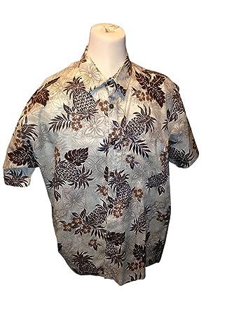 6d3a634b Big and Tall USA Made Hawaiian Shirts In Stylish Prints Cotton Rayon Blend (Pineapple  Brown