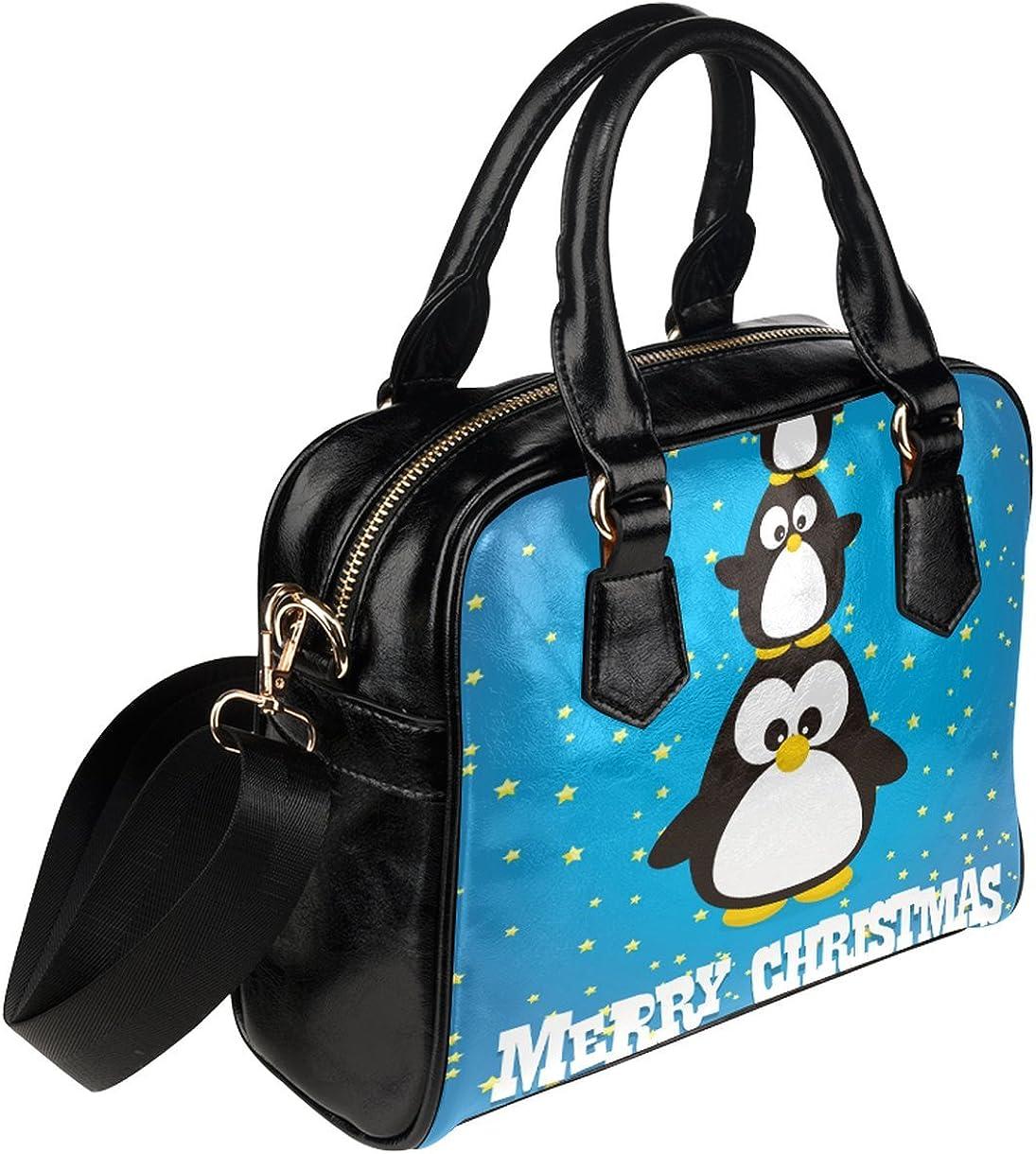 CASECOCO Blue Penguin Christmas Star Womens PU Leather Purse Handbag Shoulder Bag