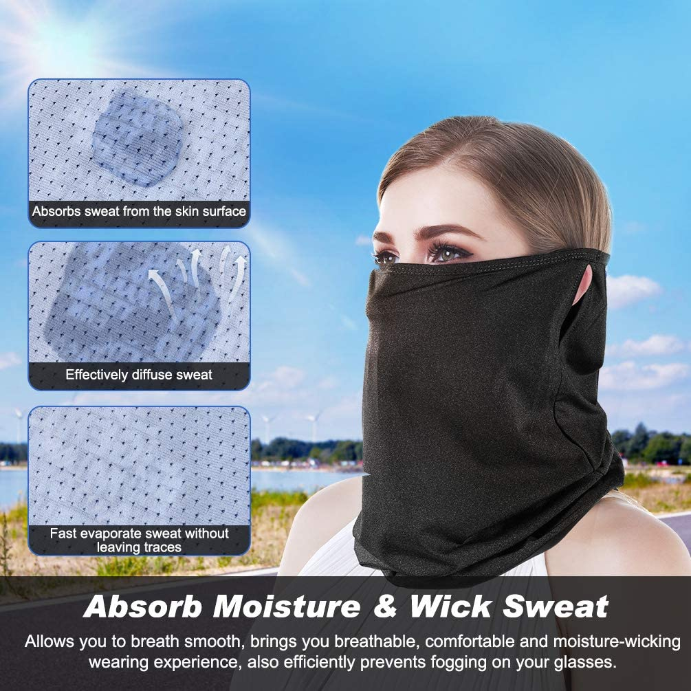 Bandana Neck Gaiter with Removable Carbon Filter UV Protection Unique Ear Loop Multi-Purpose Face Cover Sport Headband for Men Women