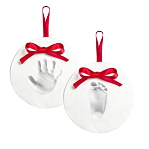 Pearhead Babyprints 2-Pack No-Bake Baby Hand and Footprint Ornament Kit, DIY Christmas Holiday Keepsake Gift