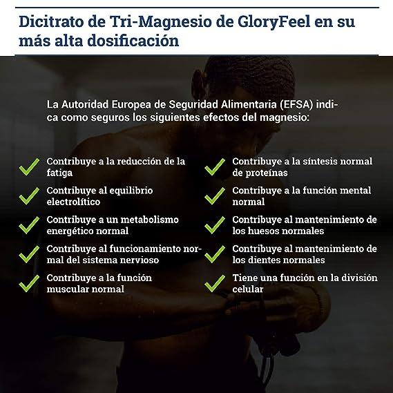 GloryFeel® Magnesio - 200 cápsulas con el mejor citrato de magnesio - 2400 mg (360 mg de magnesio elemental) por día - Calidad de marca alemana ...
