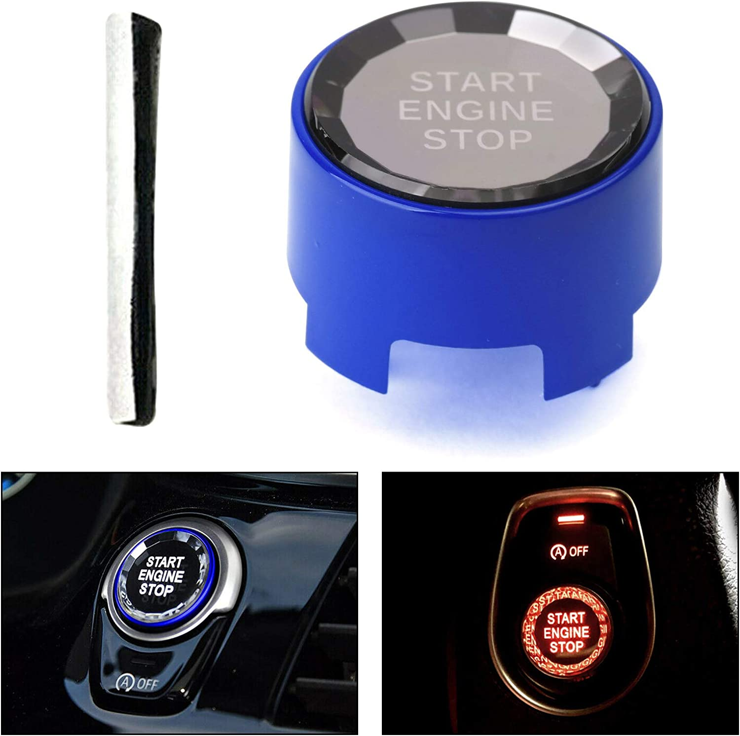 Areyourshop Engine Start Stop Switch Button Cover OFF For B-M-W F Chassis F30 F10 Crystal