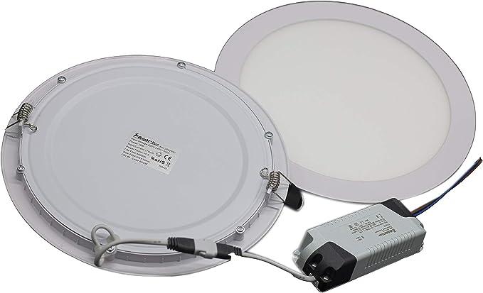 Pack 2 unidades - downlight Led redondo empotrable 18W 6500°K 225x33mm: Amazon.es: Iluminación