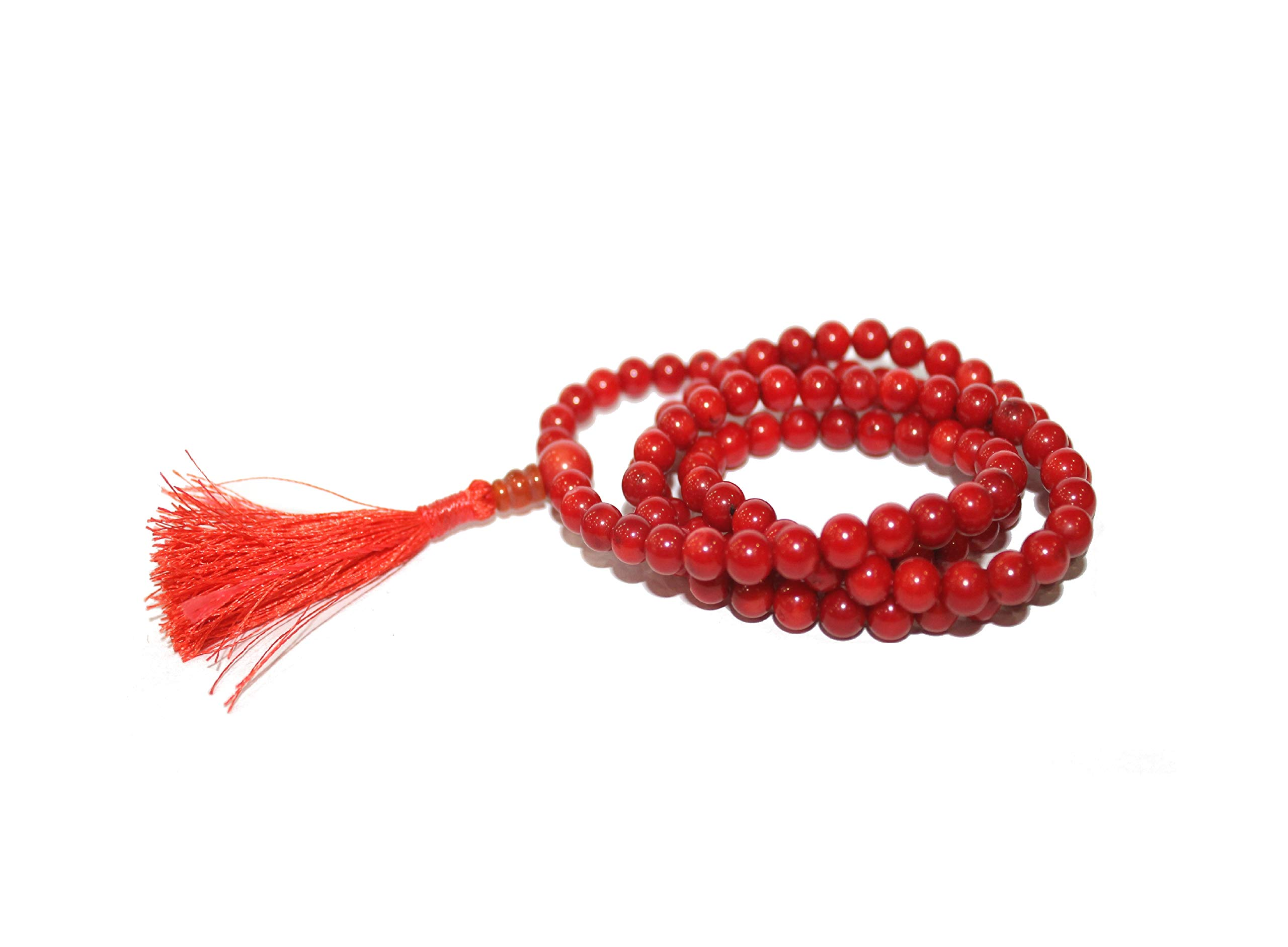 IndianStore4All Red Coral (Moonga) Japa Mala 7mm 108+1 Guru Bead Handmade Meditation Mala Prayer Necklace by IndianStore4All