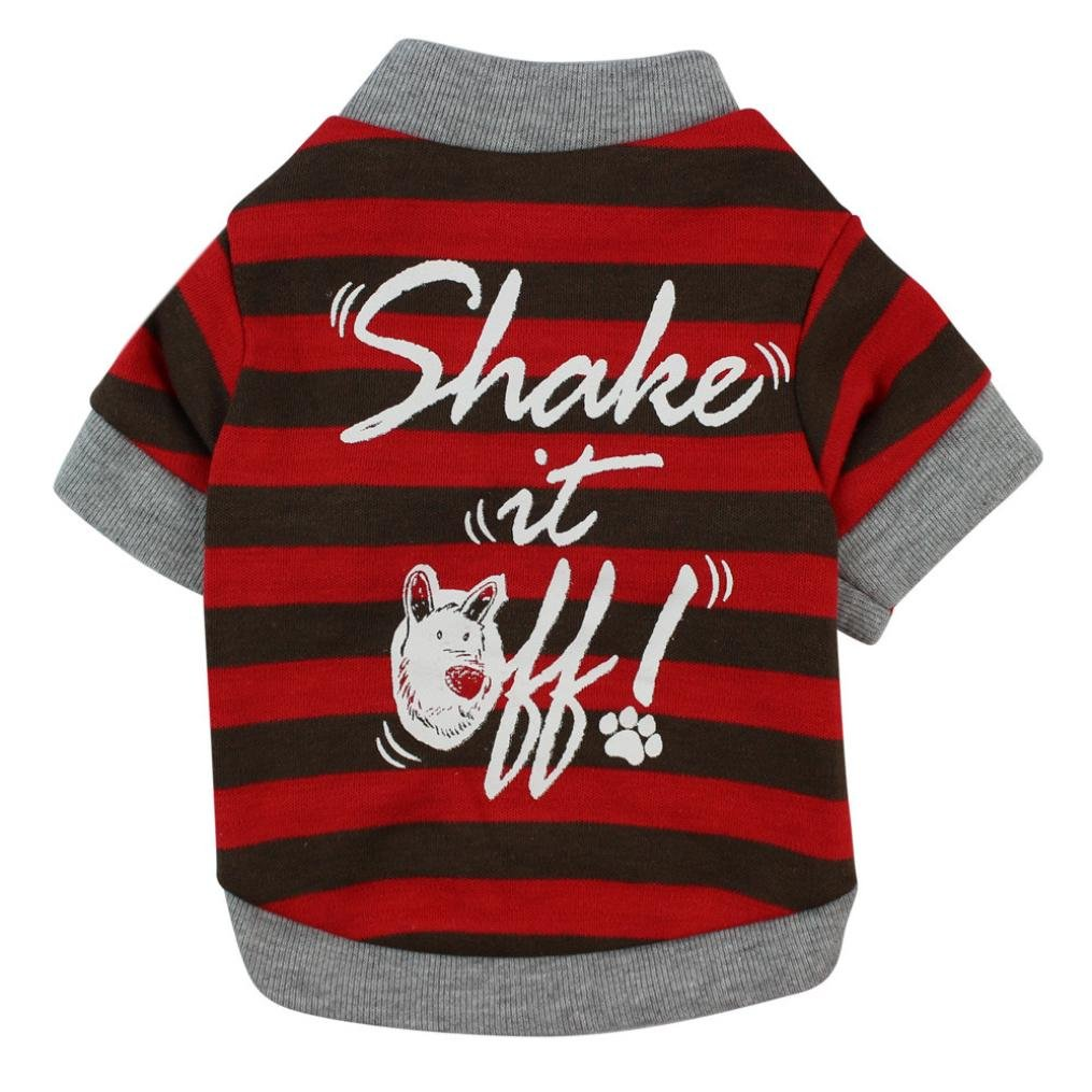 Angelof Vetement Chien/Chat Pull Chien Au Crochet Imprimer Shake It Rayures Rouge Gilet Habit Chat Sweat Tee Shirt Accessoire Petite Taille ANGELOF0116