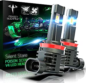 POISON SCORPION Fanless H8 H9 H11 LED Headlight Bulb Conversion Kit for Car | High Brightness PHI Chips 12000LM 6500K Cool White Wireless All-in-One