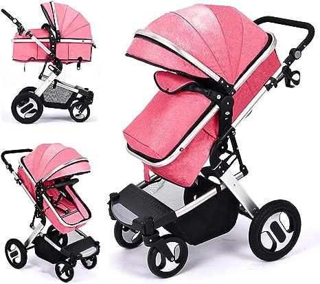 Opinión sobre RUXGU - Cochecito de bebé 2 en 1, sistema de viaje plegable ligero para recién nacidos con cubierta de lluvia y bolsa para mamá (rosa)