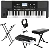 Korg PA300 61-key Arranger Workstation Keyboard Bundle with Knox Double X Stand ,Bench ,Headphones and Dust Cover