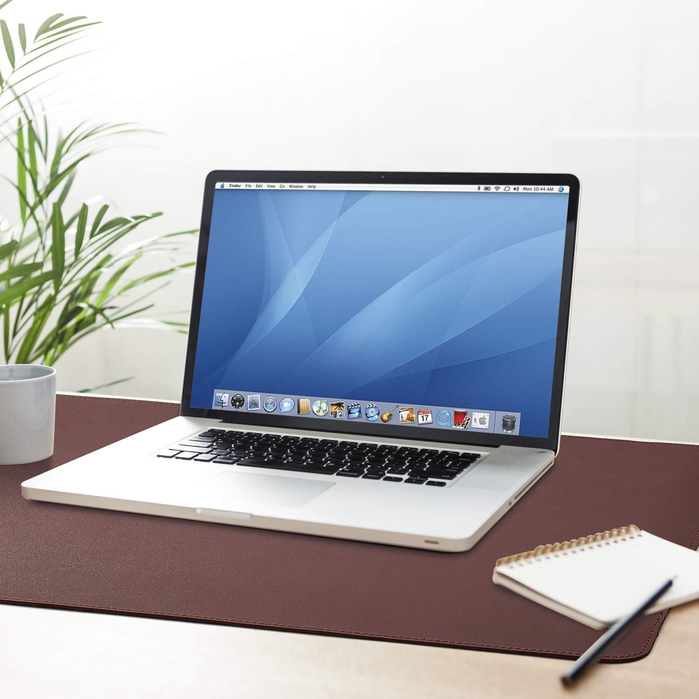 ACSTEP Office Desk Pad Ultrathin Desk Pad Protector Waterproof PU Leather Desk Blotter Pad Desk Writing Mat Dark Brown for Office,Home 31.2\