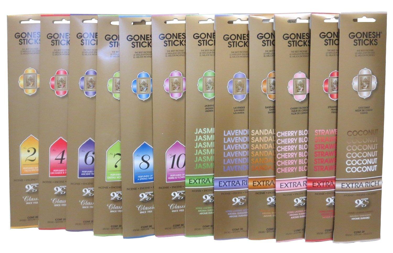Gonesh Incense Sticks, 12 Variety , 20 Sticks