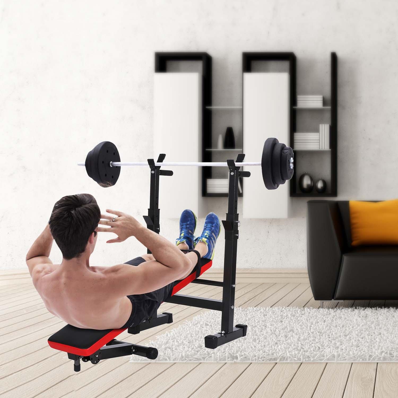 AMDirect Banco de Pesas Plegable Multifunci/ón Altura Regulable Banco de Fitness para Entrenamiento Abdominal en Casa Oficina