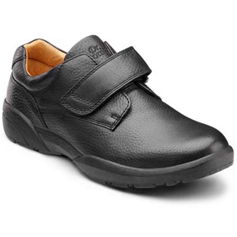 Dr. Comfort William Men's Therapeutic Diabetic Extra Depth Dress Shoe leather velcro 15.0 Wide (E/2E) US Men|Black