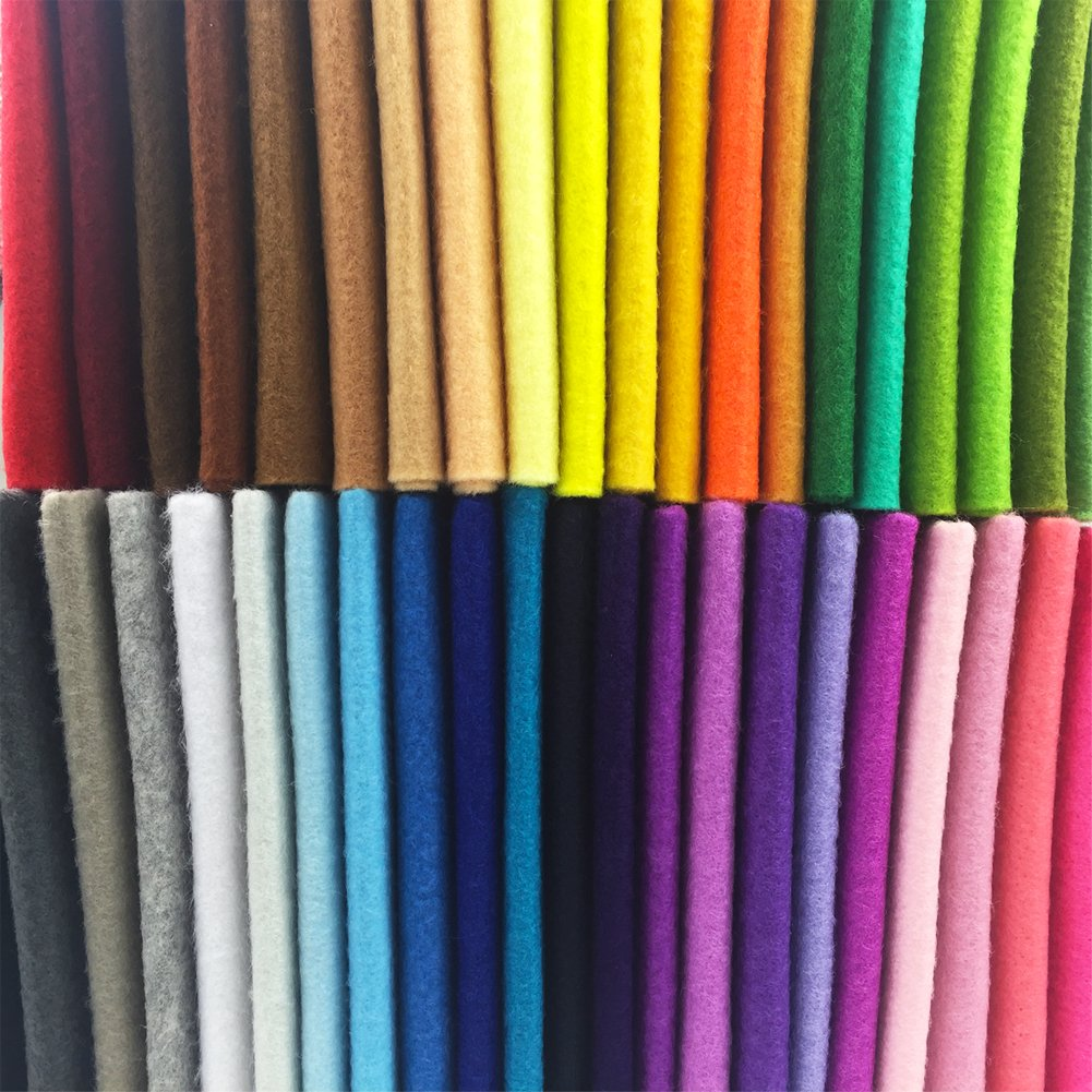 flic-flac 42pcs1.4mm Thick Soft Felt Fabric Sheet Assorted Color Felt Pack DIY Craft Sewing Squares Nonwoven Patchwork (20cm 30cm) by flic-flac (Image #6)
