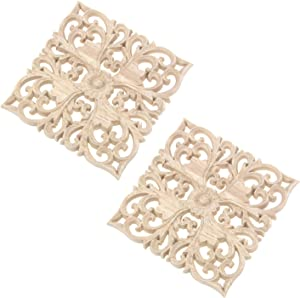 """Tulead 2-Pack Wood Decal Furniture Appliques Flower Decal Decorative Onlay 3.94""""x3.94"""" for Cabinet Wall Door"""