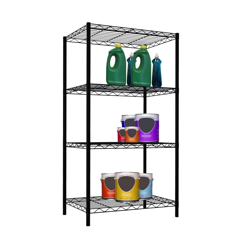 Amazon.com: Home Basics Wire Shelving Storage Unit (4 Tier, Black ...