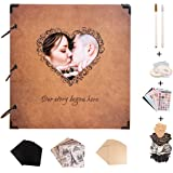 SICOHOME Scrapbook,10x10.5 Inch Personalized Scrapbook Album with Heart Photo Opening
