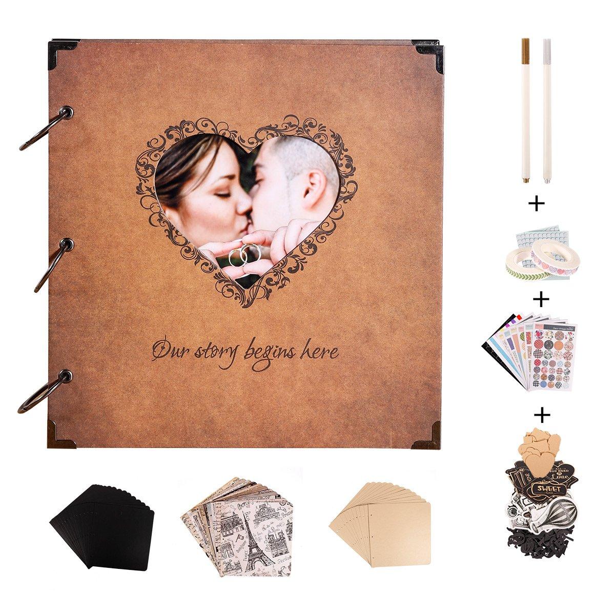 SICOHOME Vintage Scrapbook,10x10.5 Inch Wedding Scrapbook Album with Heart Photo Opening