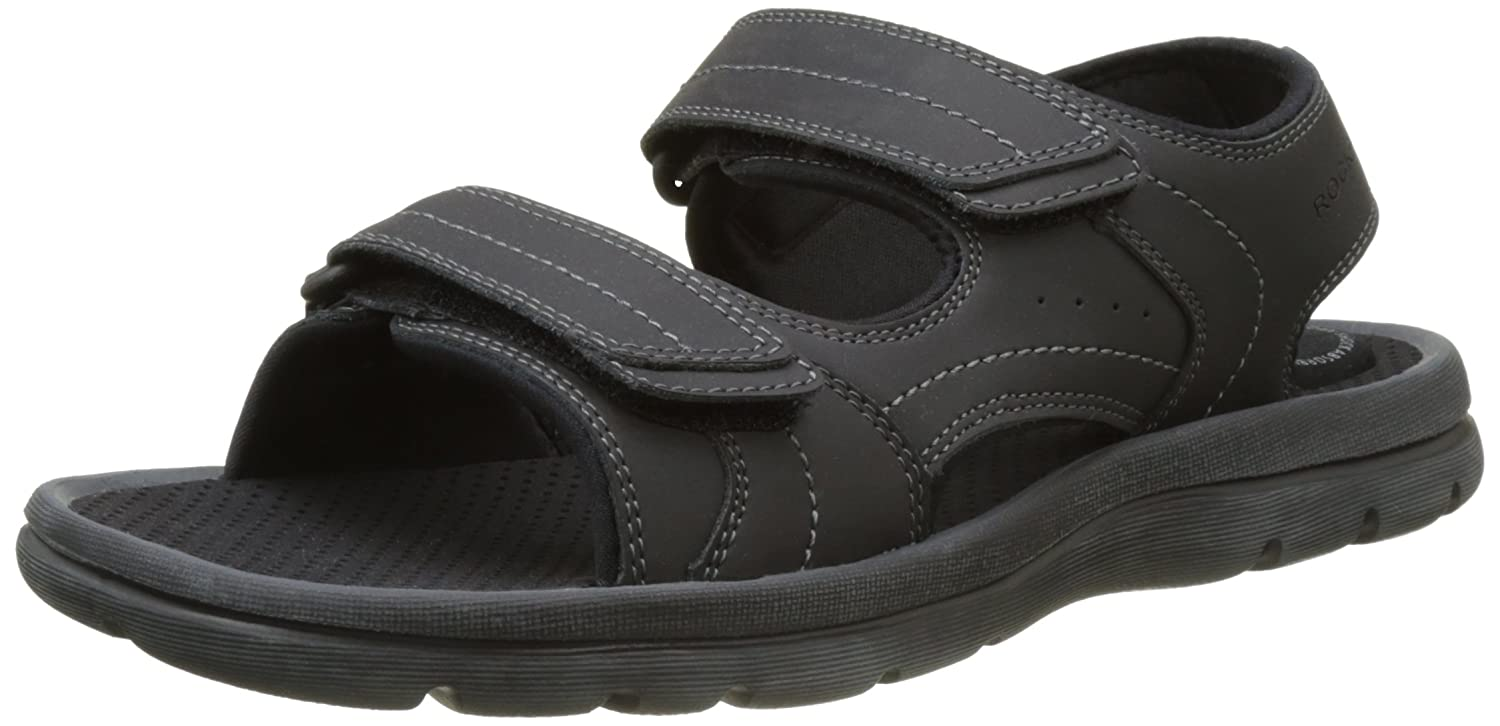 Rockport Get Your Kicks Double Velcro, Sandalia con Pulsera para Hombre 42 EU|Negro (Black Leather)