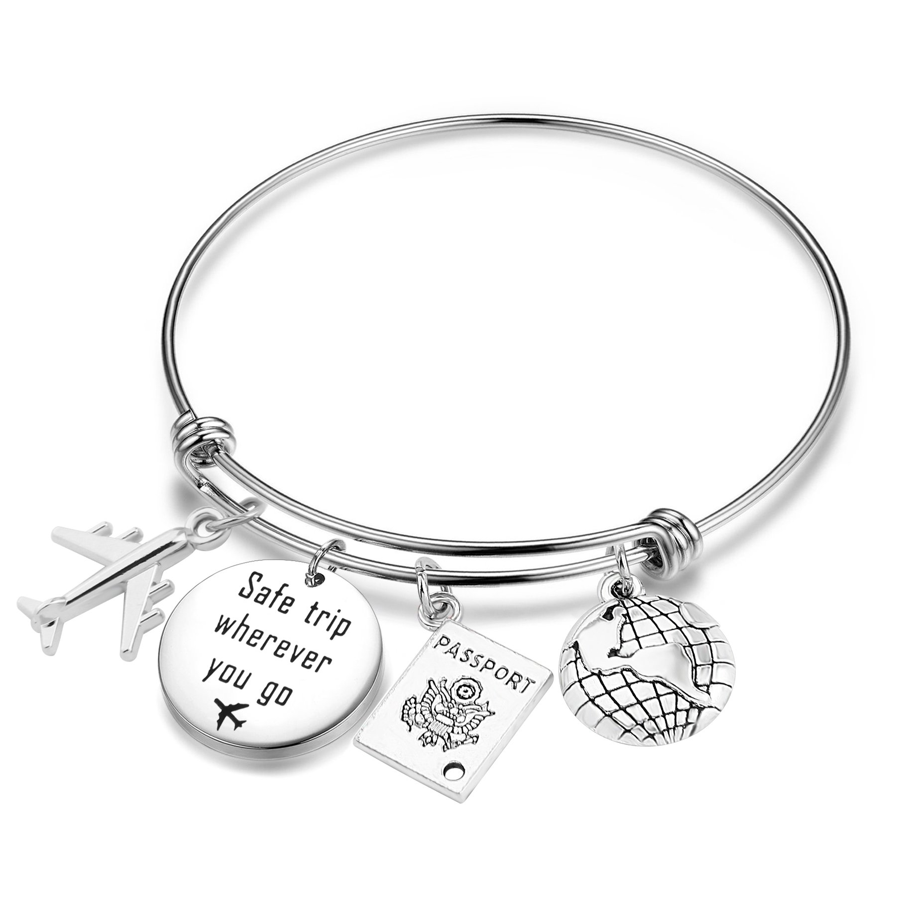 CHOROY Safe Travels Bracelet Airplane Bracelet Safe Trip Wherever You Go Charm Bangle Aviation Jewelry Gift For Pilot/Flight Attendant (Safe trip bangle)