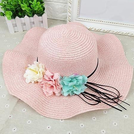 031a8e1f ZUOANCHEN Women Floppy Sun Hat Summer Wide Brim Beach Cap Foldable Cotton  Straw Hat Summer Sun Straw Hat Wide Brim Foldable Adjustable (Color : Pink):  ...