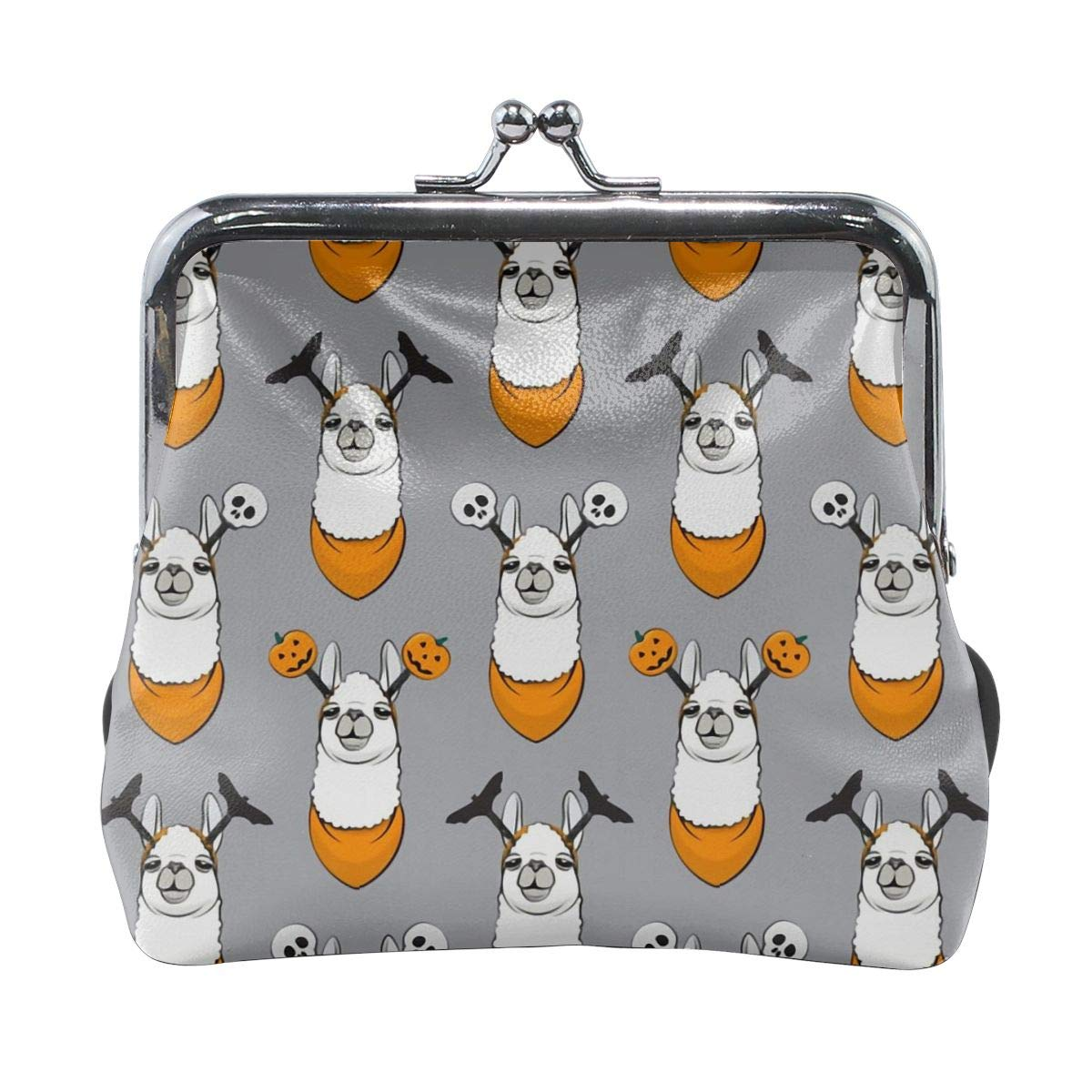 Grey Easter Head Llama Vintage Pouch Girl Kiss-lock Change Purse Wallets Buckle Leather Coin Purses Key Woman Printed