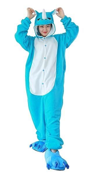 Cosplay Animales Pijamas Mujer Invierno Novedad Navidad Traje Disfraz Adulto Rinoceronte