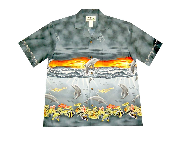 KYS Dolphin Turtle Sunset Coral Fish Mens Hawaiian Shirts