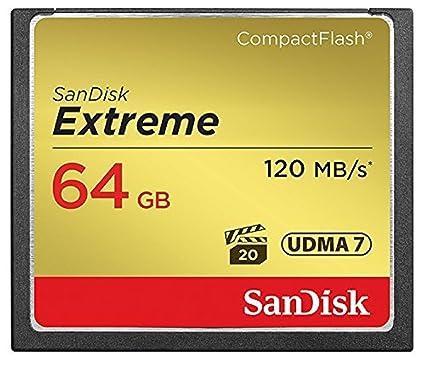 SanDisk SDCFXSB-064G-FFP Tarjeta de Memoria Compact Flash de 64 GB (Velocidad de Lectura de 120 MB/s, Velocidad de Escritura de 85 MB/s, UDMA 7), ...