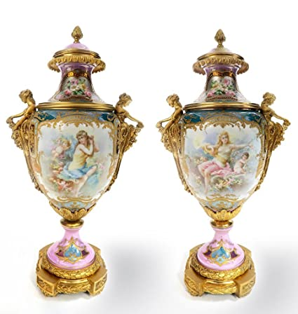 Amazon Pair Of French Figural Bronze Sevres Vases Arts