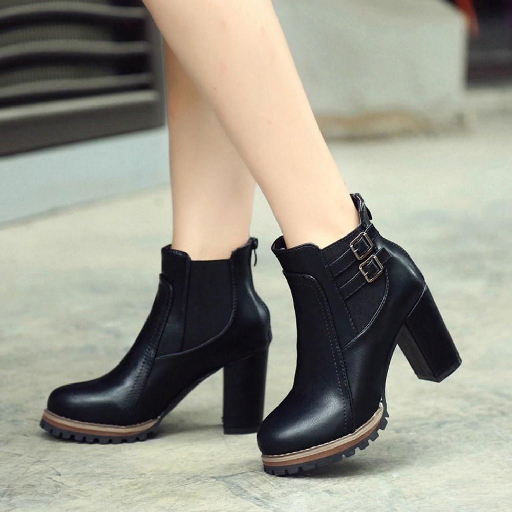 ff0dcb739f731 Amazon.com: Women's Sexy Slip On Short Bootie Fashion Winter Waterproof  High Heels Platform Flat Ankle Boots Party Shoes: Clothing