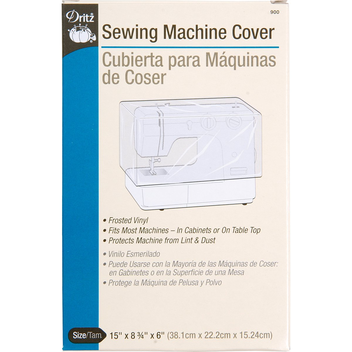Dritz Vinyl Sewing Machine Cover-15-Inchx8.75-Inchx6-Inch Frosted 900