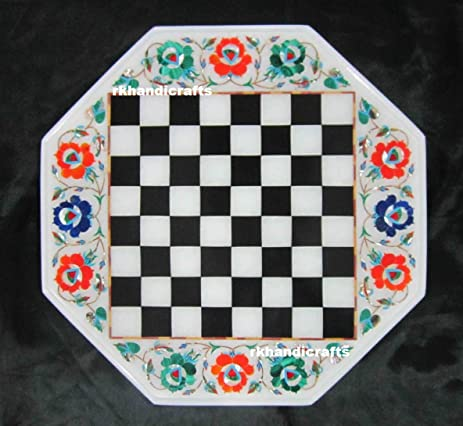 14u0026quot; Octagon White Marble Chess Cum Coffee Table Top Inlay Multi Flower  Design