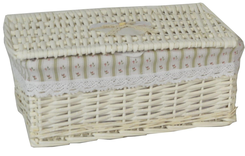 Contenitore scatola bauletto in vimini e rattan 30x20h13 chiaro naturale foderato con decoro righe verticali porta tutto oggetti per casa camera salotto bagno Savino Fiorenzo