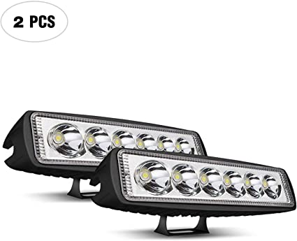 Led Light Pods,JAHURD 2 PCS 18W 6Inch LED Driving Lights Spot Beam Light Bar Waterproof Work for Off Road Car Jeep SUV Boat Outdoor