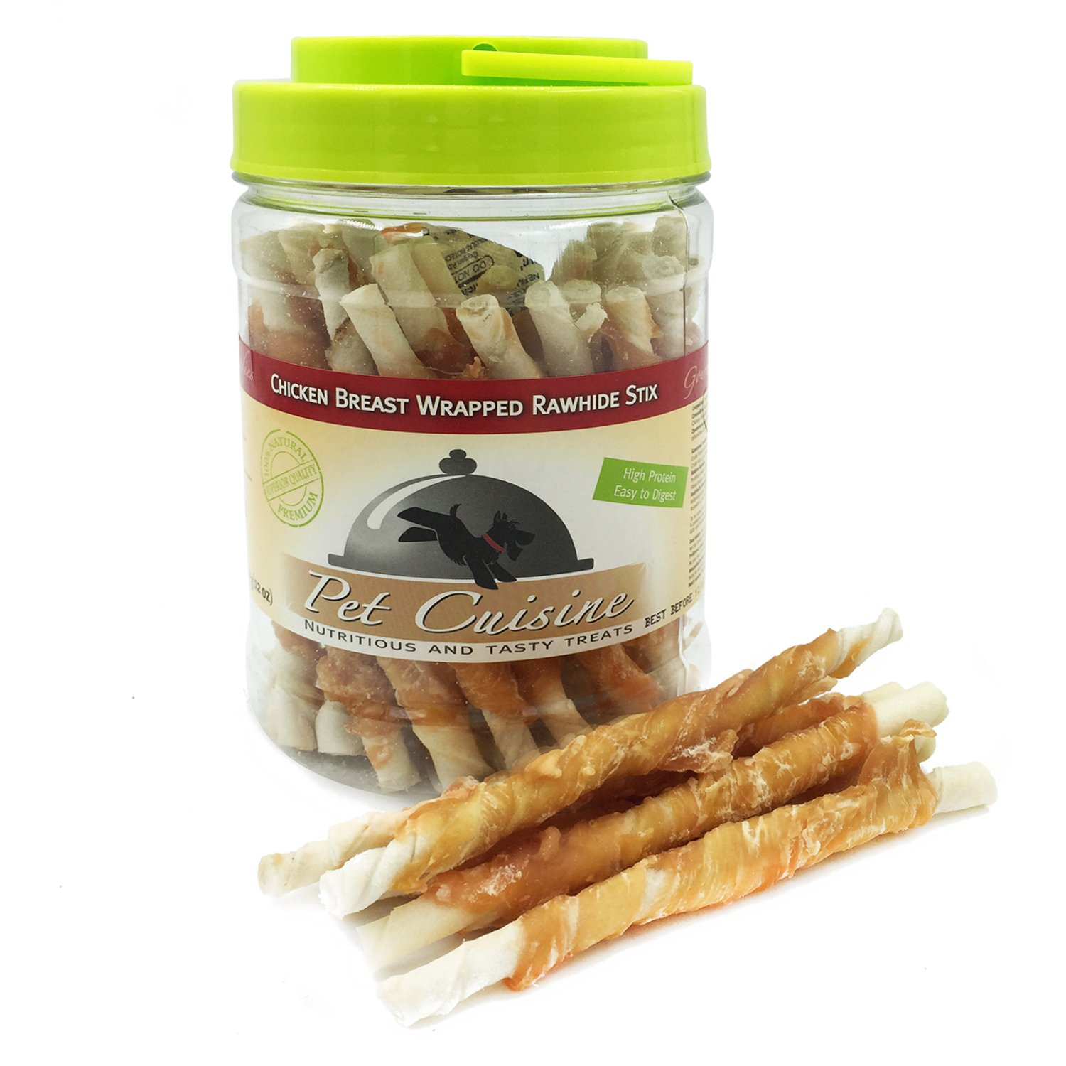 Pet Cuisine Dog Treats Puppy Chews Training Snacks,Chicken Breast Wrapped Rawhide Stix,12 oz