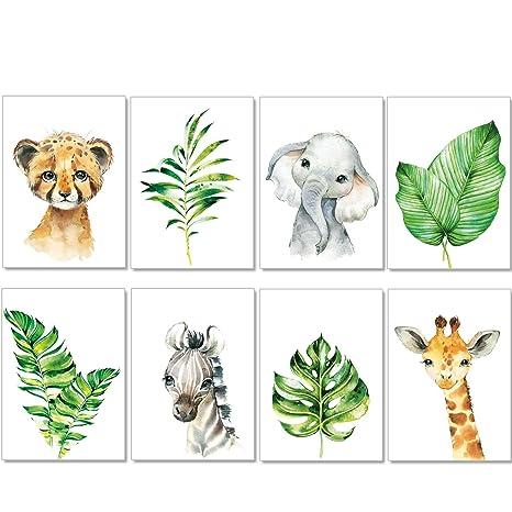 artpin® 8er Set Bilder Kinderzimmer Deko Junge Mädchen - A4 Poster Babyzimmer - Safari Dschungel Wandbilder Afrika Tiere - Po