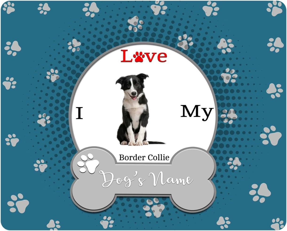 BleuReign(TM) Personalized Custom Name I Love My Dog Border Collie Square Refrigerator Fridge Magnet