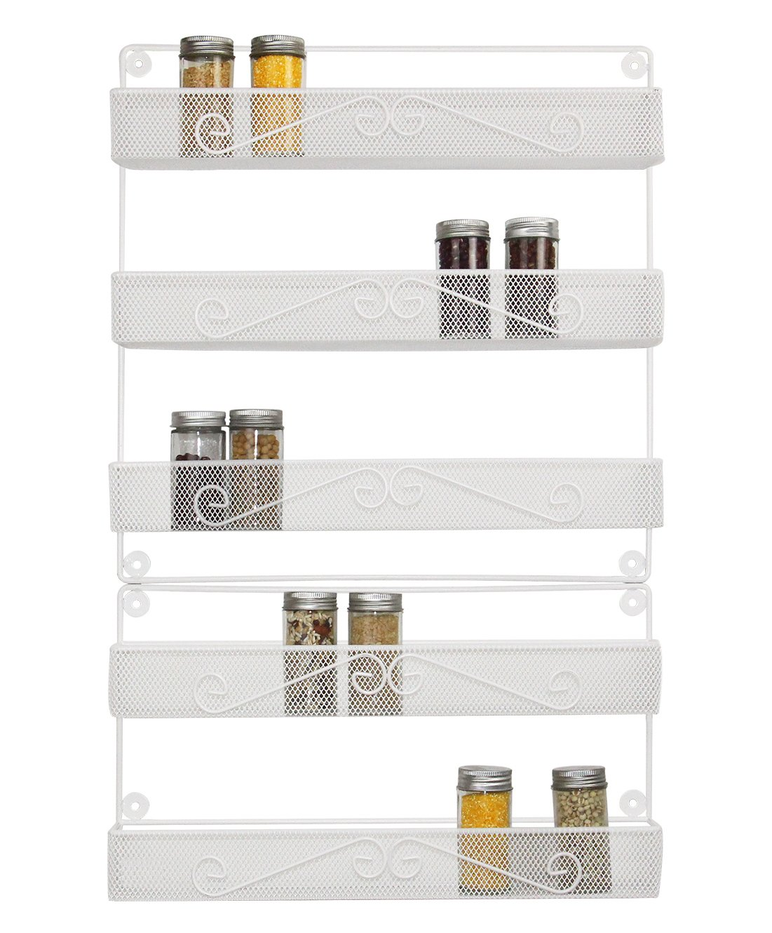 ESYLIFE 2 Tier and 3 Tier Wall Mounted Large Spice Rack Organizer, White