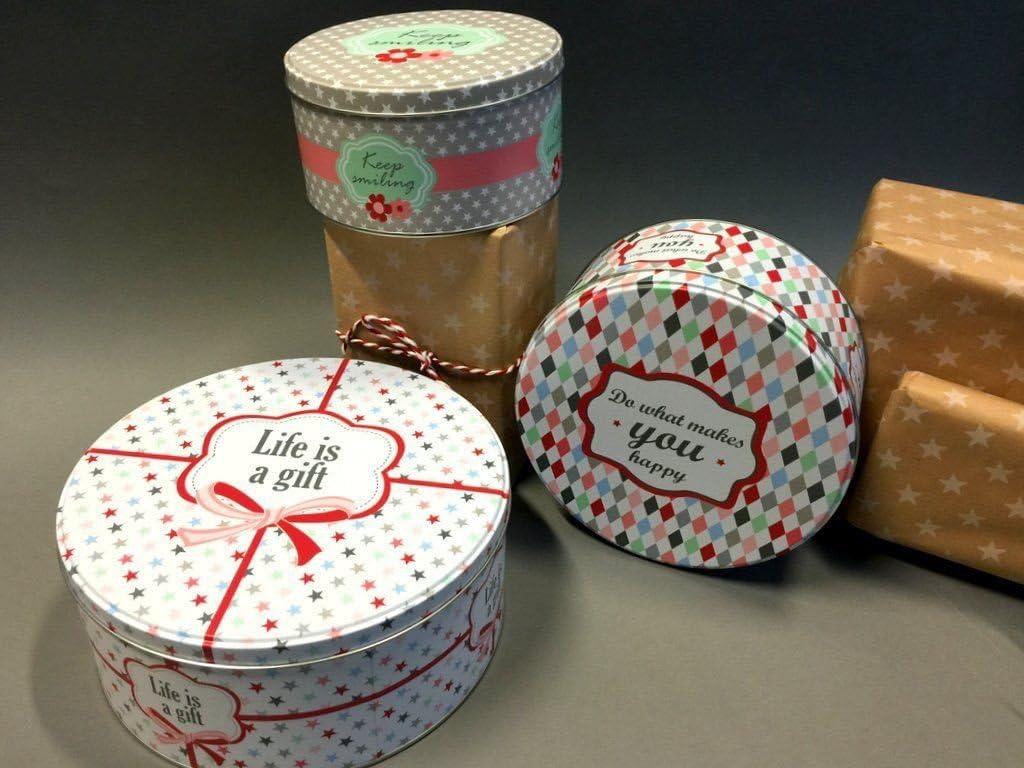 Krasilnikoff/ lata/ /Juego de 3/ latas /Redondo /Cajas para galletas pl/ätchen lata /Hojalata/