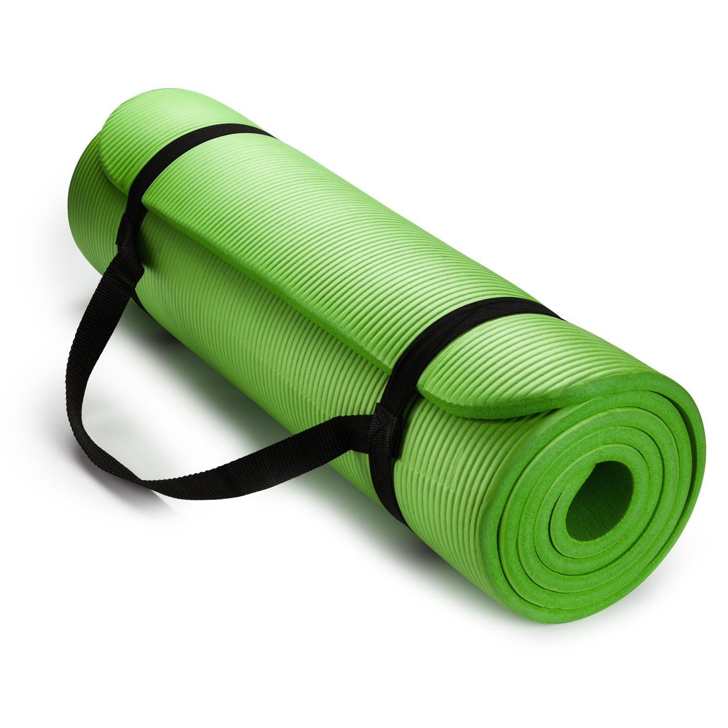 HemingWeigh 1/2-Inch Extra Thick High Density Exercise Yoga Mat with Carrying Strap (Green)