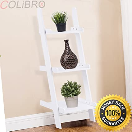 COLIBROX 3 Tier Leaning Wall Ladder Book Shelf Bookcase Storage Rack Display Furniture