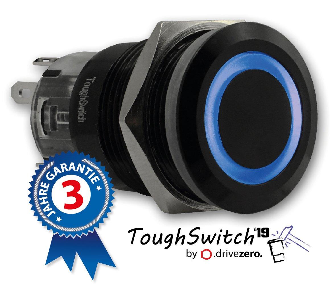.drivezero staub- und wasserdicht Taster schwarz mit LED-Leuchtring Rot 12V ToughSwitch 19 bis 230V // 5A IP67